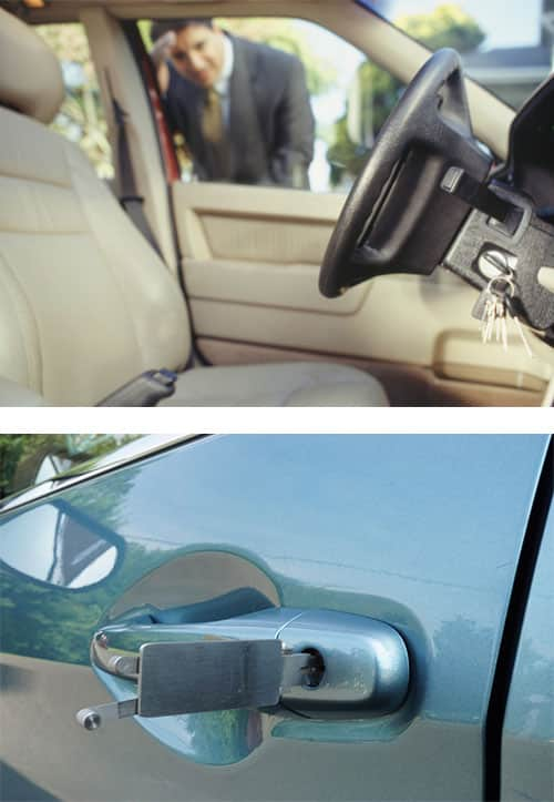image of a man looking through a car window at the keys he left in the ignition (top) and a professional lock pick being used to unlock the car door (bottom)