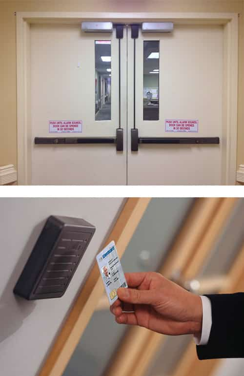 image of commercial-grade doors with crash bars (top) and a key-card reader installed next to an office door