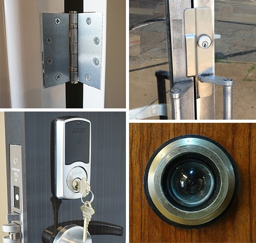 image of door hardware (clockwise from top left): hinges, wrap plate, peephole, and a smart lock.