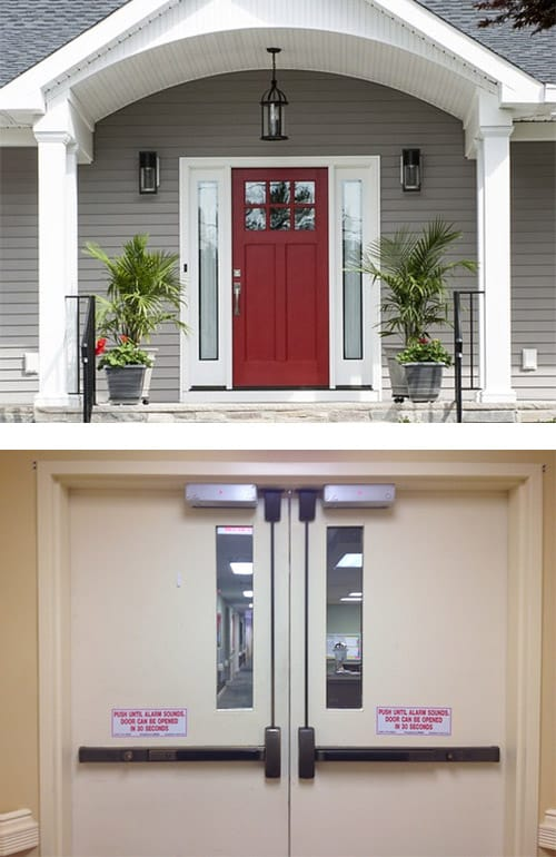 image of a residential door (top) and commercial doors (bottom)