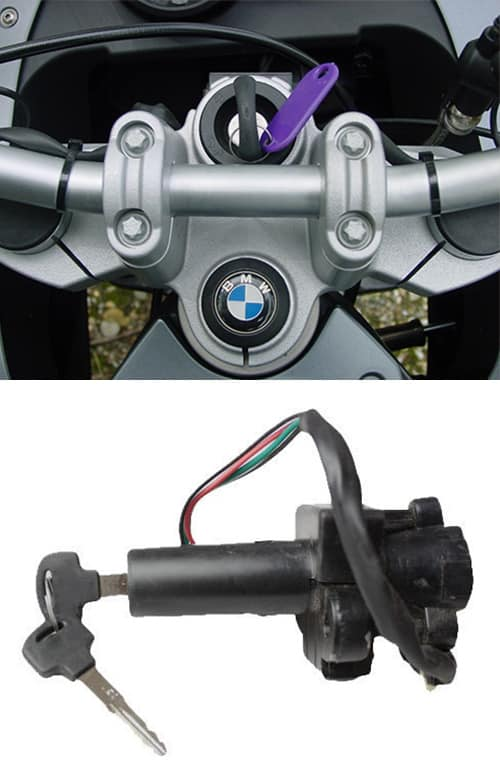 Image of a BMW key in the ignition (top) and a motorcycle ignition with key inserted (bottom)