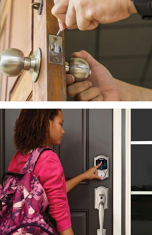 We can install new locks on your residential doors (top) as well as Smart Locks (bottom).