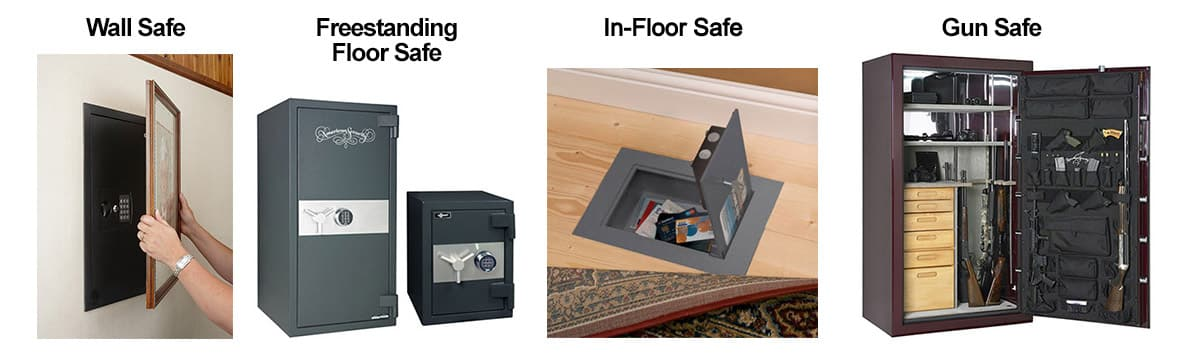 image of 4 types of safes: wall, freestanding floor safe, in-floor safe, and gun safe