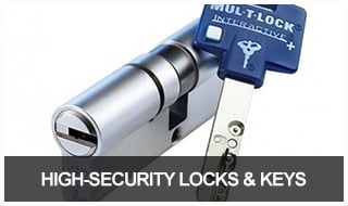 Image of a high security lock cylinder and key from MUL-T-LOCK